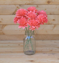 12 Coral Stemmed Dahlia Sola Wood Flowers, Sola Flowers on Wire Stems, DIY sola bouquet