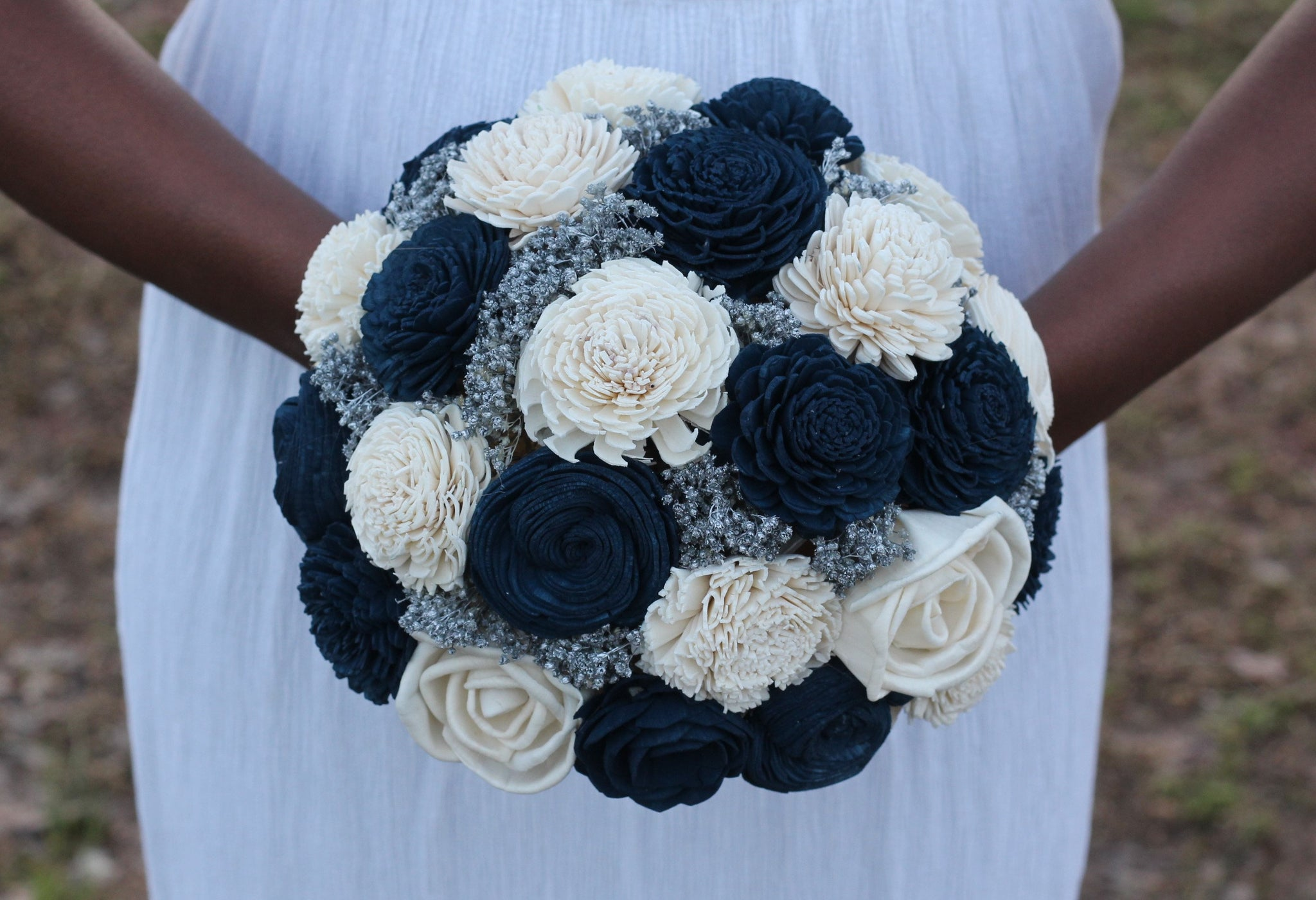 Navy Blue And Ivory Sola Wedding Bridal Bouquet Blue Silver