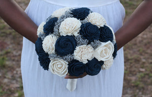 Navy blue and ivory sola wedding bridal bouquet, blue silver bouquet