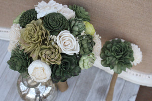 Budget Succulent Sola Flower Bouquet Set, Made to Order Wedding Bridal Bouquet, Budget wedding Bouquets