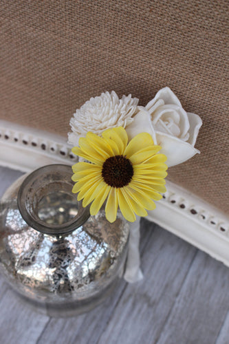 Budget Bouquet, Peti Sunflower Bouquet, budget bridesmaid bouquet, flower girl bouquet, rustic barn wedding,