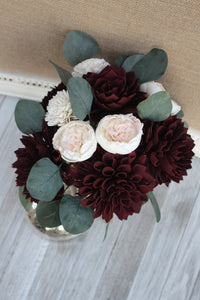 Wine Burgundy, Blush Pink & Ivory Sola Wood Bridal Bouquet