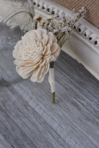 Groomsman boutonniere, groom boutonniere, sola flowers, rustic wedding, country wedding, buttonhole