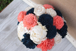 Navy Coral Sola Wood Flower Bridal Bouquet