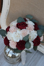 Burgundy Wine Marsala Blush Pink & Ivory Sola Wood Flowers Bridal Wedding Bouquet