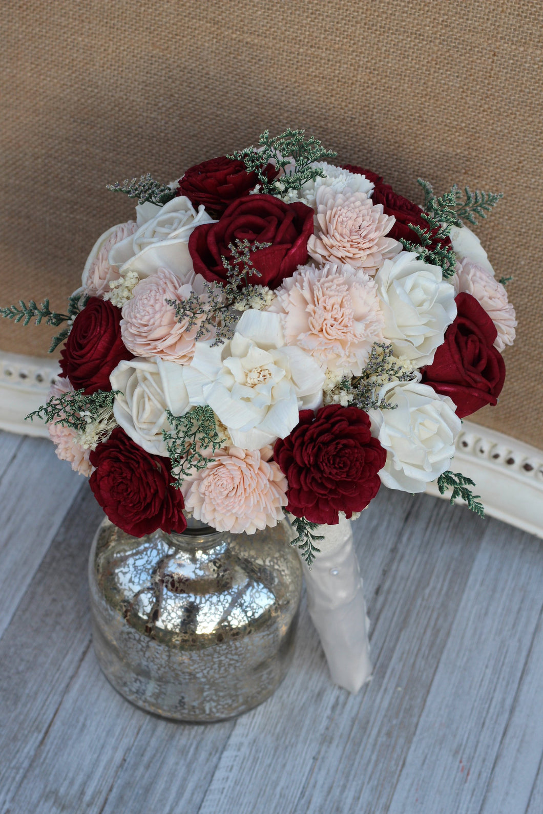 Burgundy, Blush Pink & Ivory Sola Wood Bridal Bouquet