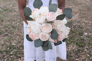 Blush Pink & Ivory Sola Wood Flowers Bridal Wedding Bouquet, Peony Bouquet
