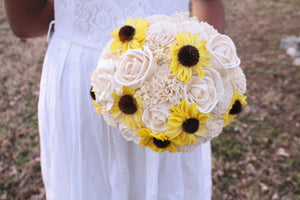 Budget Sunflower Sola Flower Bouquet Set, Made to Order Wedding Bridal Bouquet, Budget wedding Bouquets