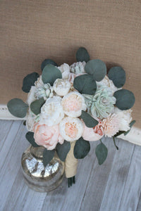 Succulent Blush Pink & Ivory Peony Sola Wood Flowers Bridal Wedding Bouquet