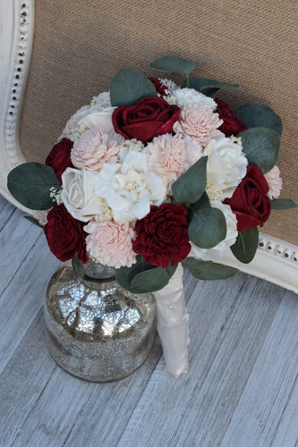 Burgundy Wine Marsala Blush Pink & Ivory Sola Wood Flowers Bridal Wedding Bouquet, Peony Bouquet
