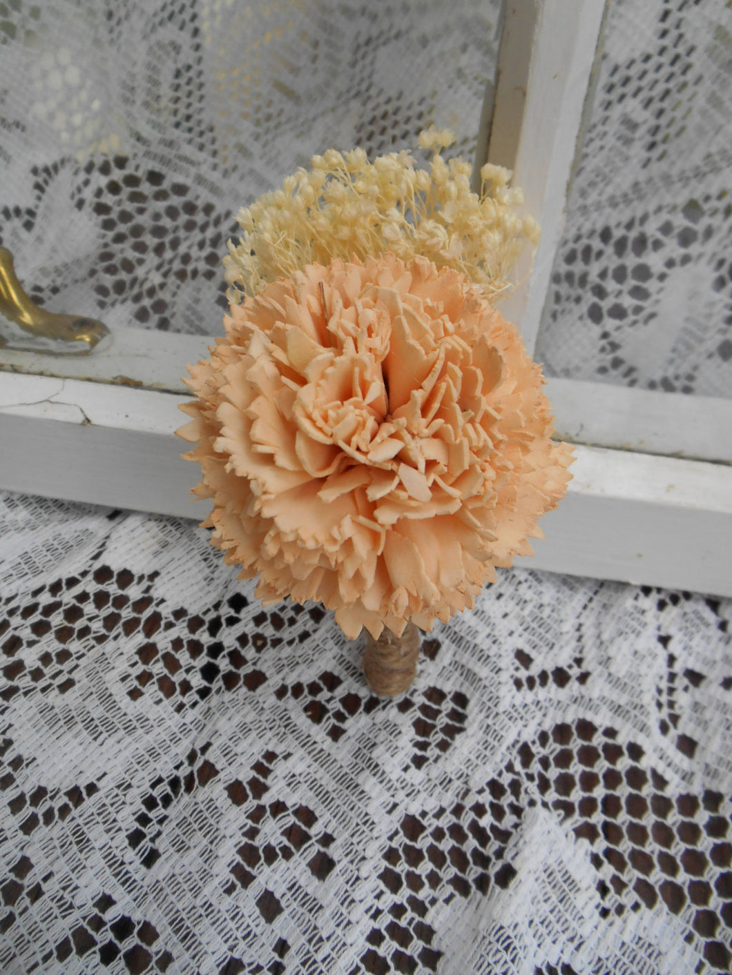 Peach Sola Flower Boutonniere, Rustic Wedding