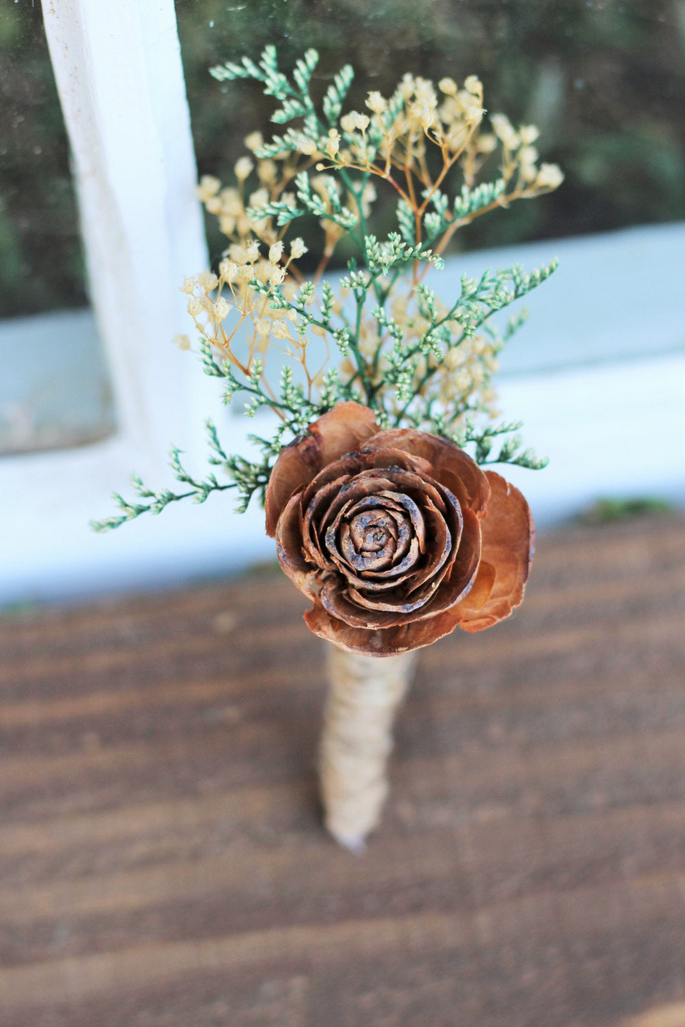 Cedar Rose Boutonniere, Rustic Wedding, Buttonhole, Pine Cone Boutonniere, Wedding, Groomsman, Groom