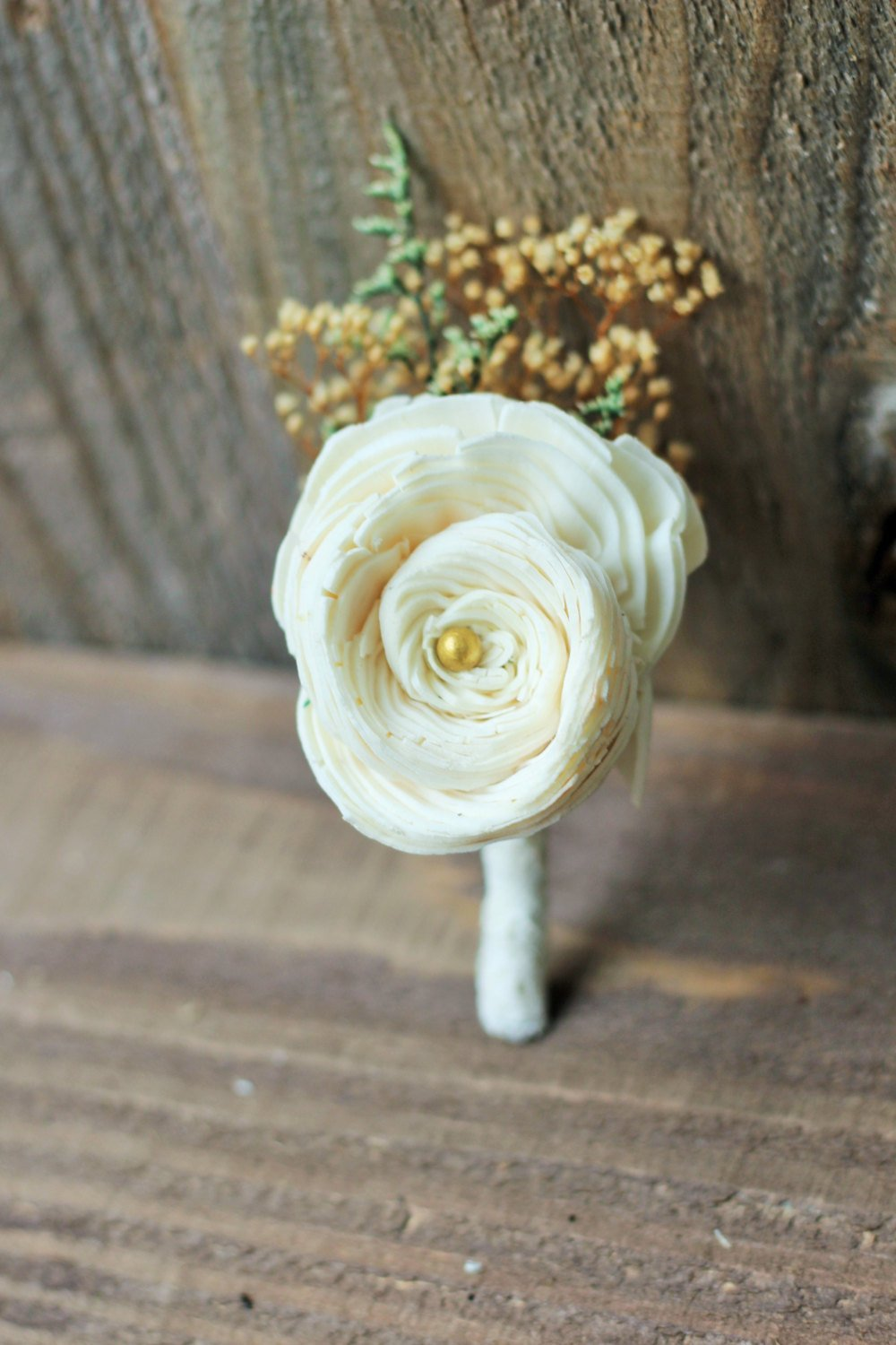 Sola Flowers, Sola boutonniere, buttonhole, groomsman, groom boutonniere