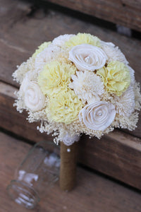 Yellow ivory sola wedding bouquet