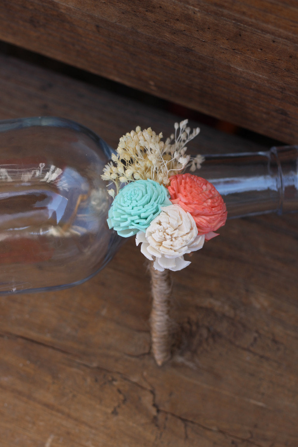 Mint coral ivory boutonniere