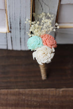 Coral, Mint and Ivory Boutonniere