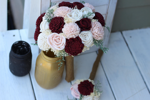 Marsala Burgundy blush sola wood flower budget wedding bouquet set