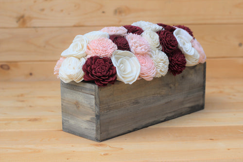 Marsala Dusty Rose Sola Wood Flower Centerpiece- Rustic Decor- Wedding Centerpiece