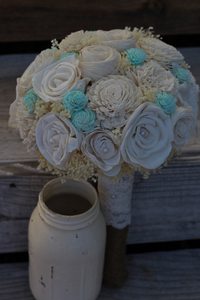 Mint and Cream Sola Wood Flower Bouquet