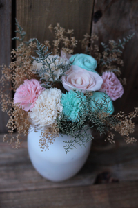 Pink and Mint Sola Wood Centerpiece