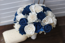 Navy blue and ivory sola wedding bouquet