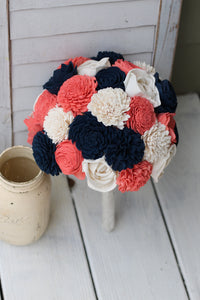 Navy Coral Sola Flower Bouquet