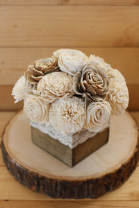 sola wood flower centerpiece