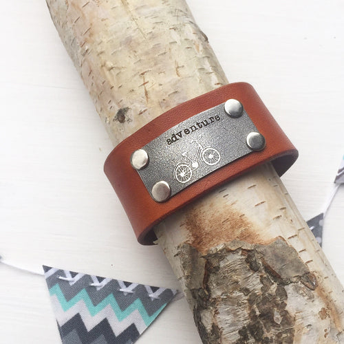 Adventure Bicycle Leather Cuff