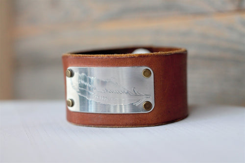 Embossed Feather Leather Cuff