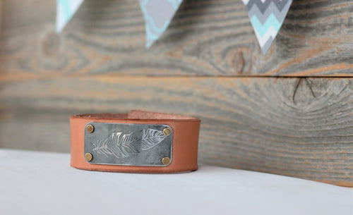 Etched Feather Leather Cuff