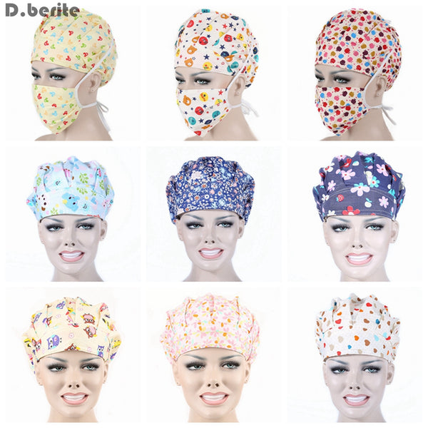 Print Scrub Cap and Mask