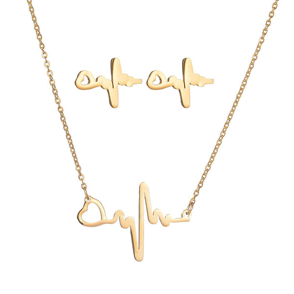 Heartbeat Collarbone Necklace and Earrings Set Stainless Steel