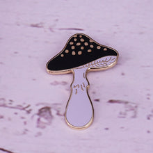 Load image into Gallery viewer, 🜪 Golden Black Mushroom Pin
