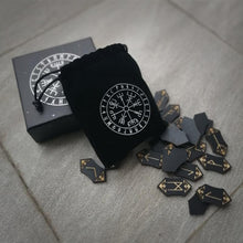Load image into Gallery viewer, Elder Futhark Rune Set + Vegvísir Bag
