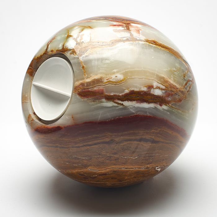 Cremation Urn - Large Luxury Marble Earthy Tones Sphere
