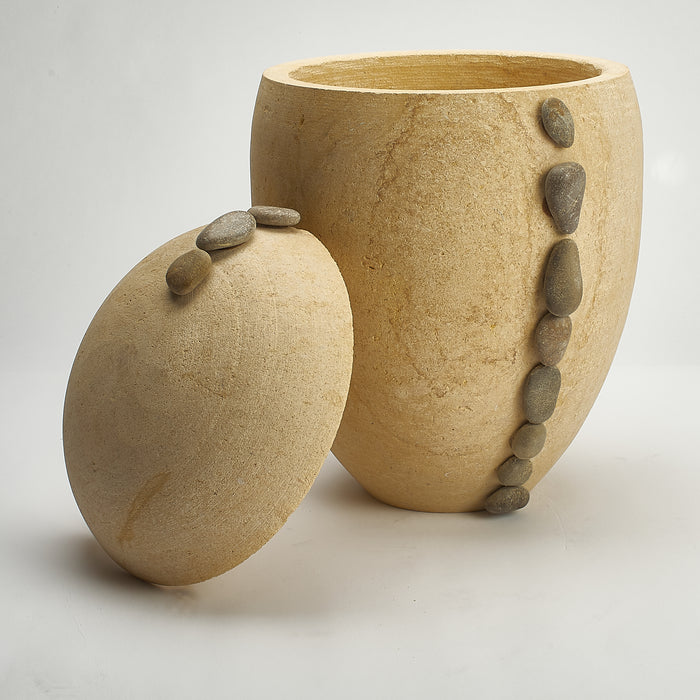 Cremation Urn - Large Sandstone (Biodegradable) with Pebble Reed Design