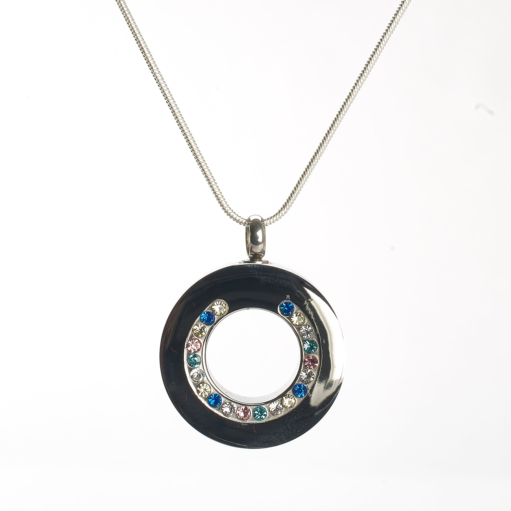 Cremation Pendant - Silver Circle with Colourful Diamante