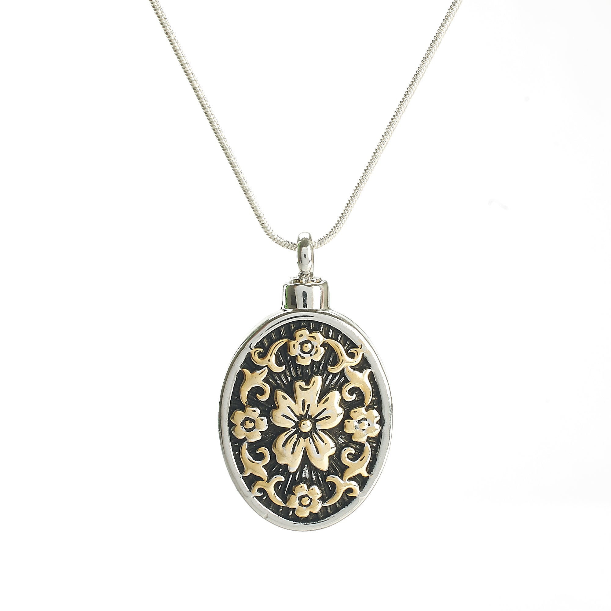 Cremation Pendant - Oval Decorative Piece Silver/Gold/Black