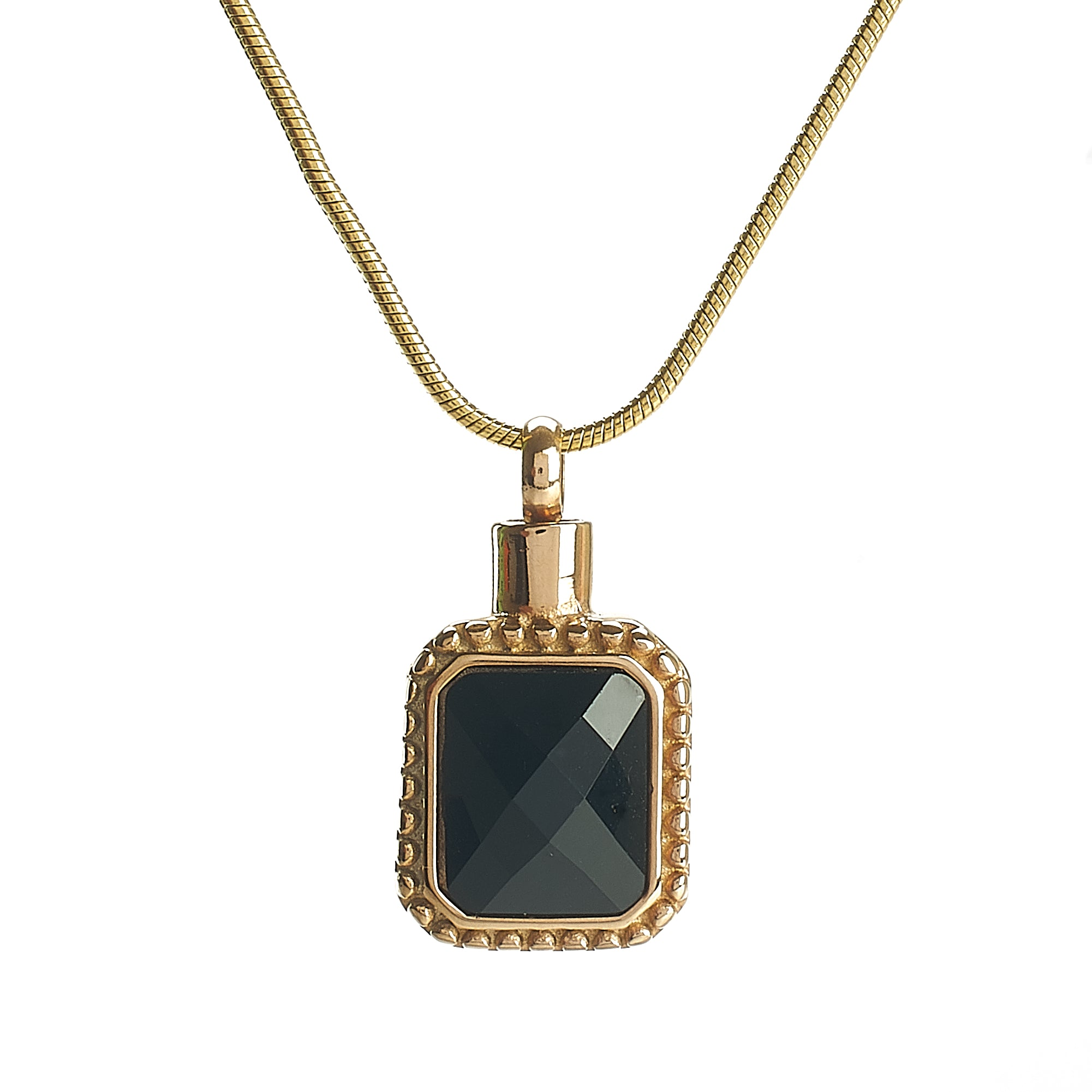 Cremation Pendant - Rectangle - Black Stone in Gold