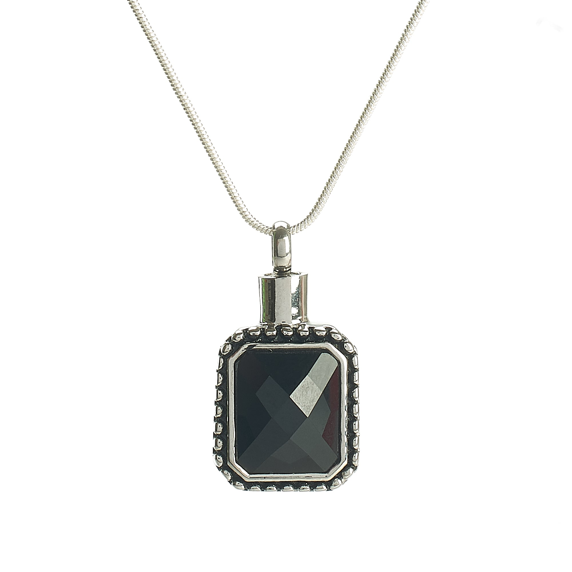 Cremation Pendant - Rectangle - Black Stone in Silver