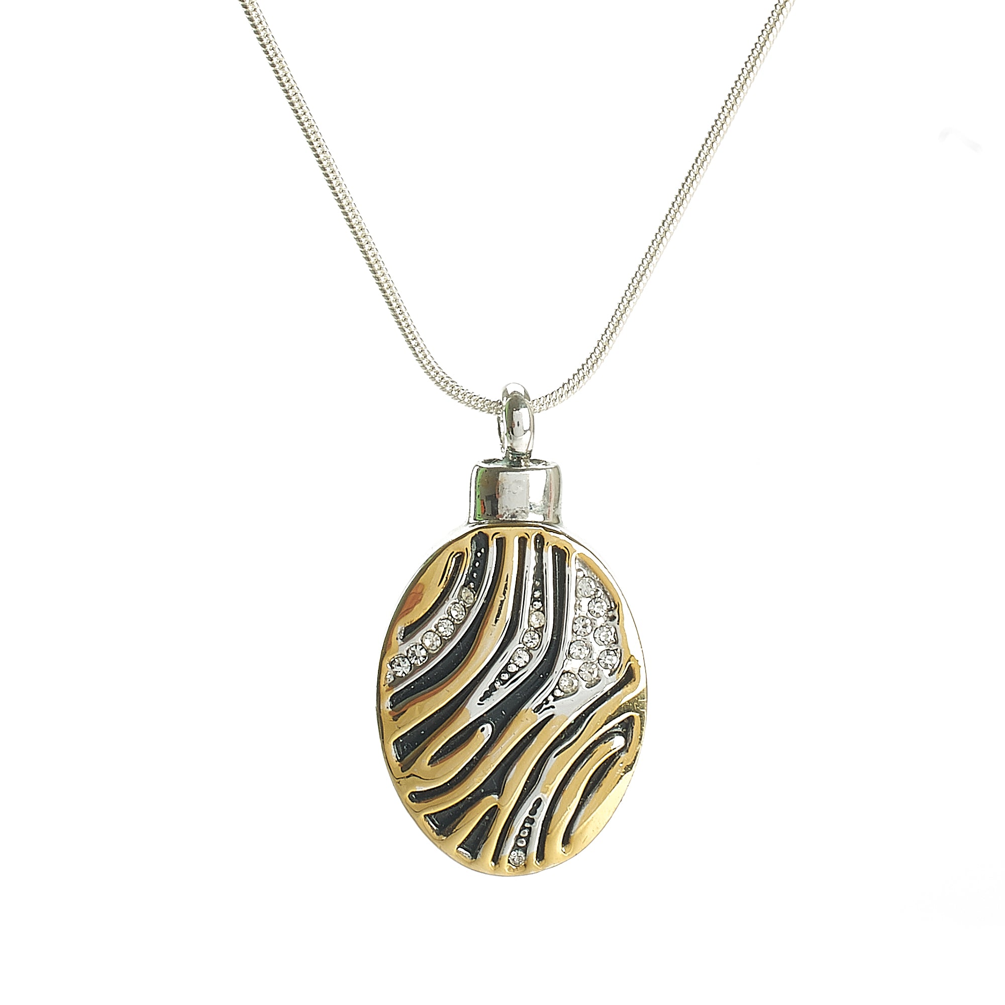 Cremation Pendant - Gold, Silver, Black Animal Print Oval