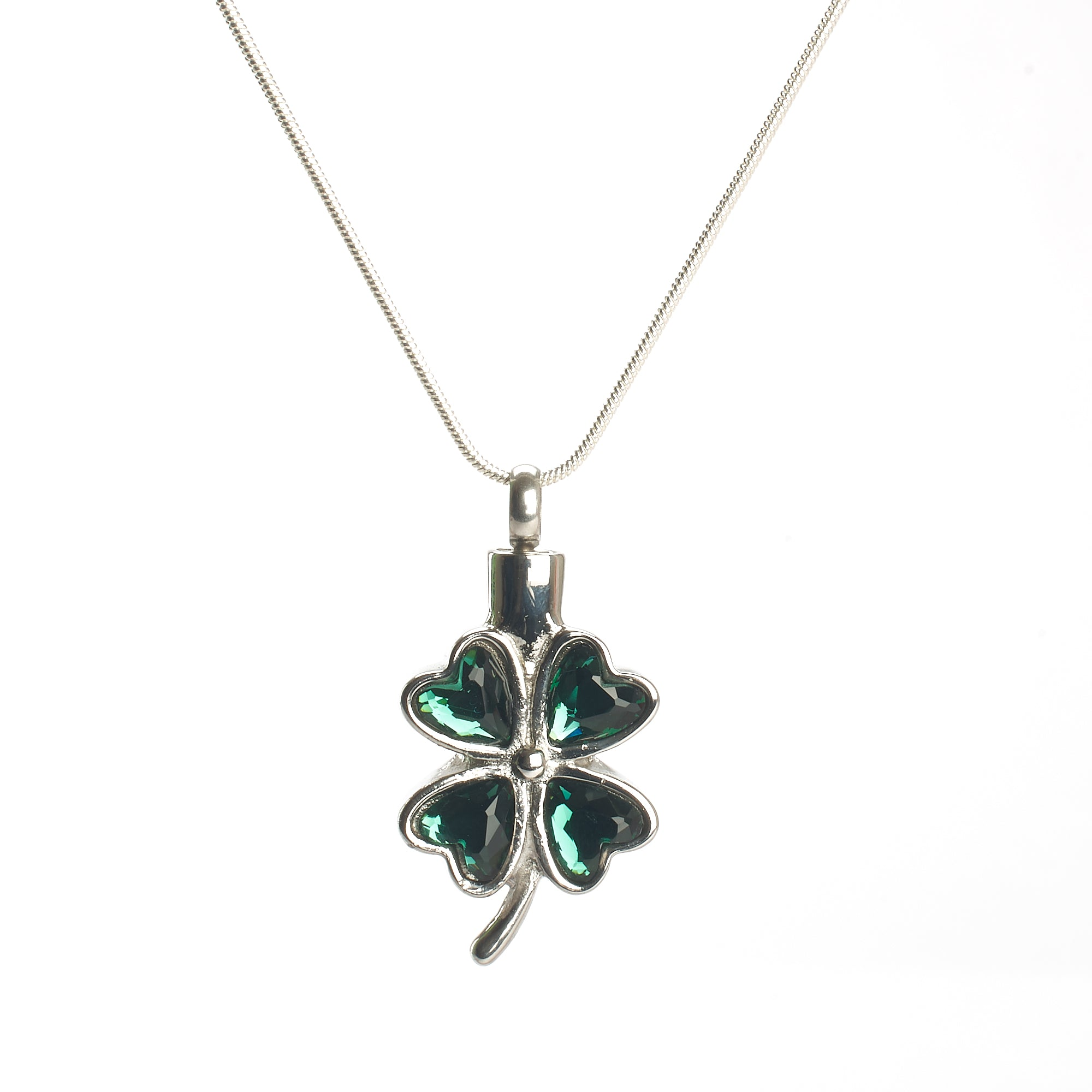 Cremation Pendant - Irish Green and Silver Four Leaf Clover