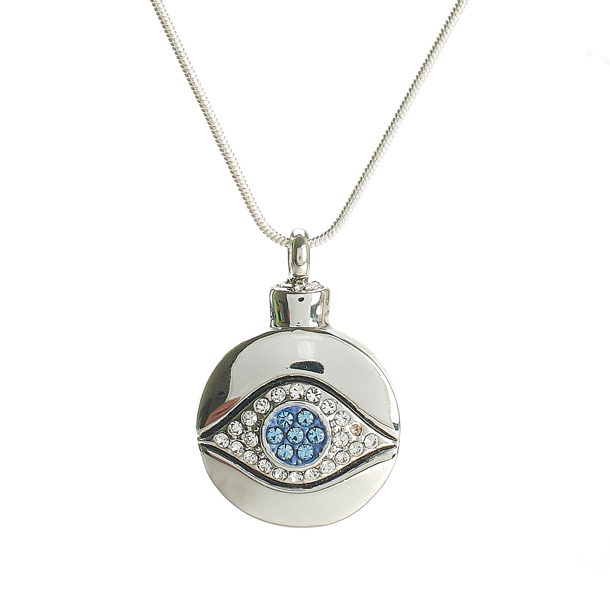 Cremation Pendant - High Shine Silver Round Evil Eye