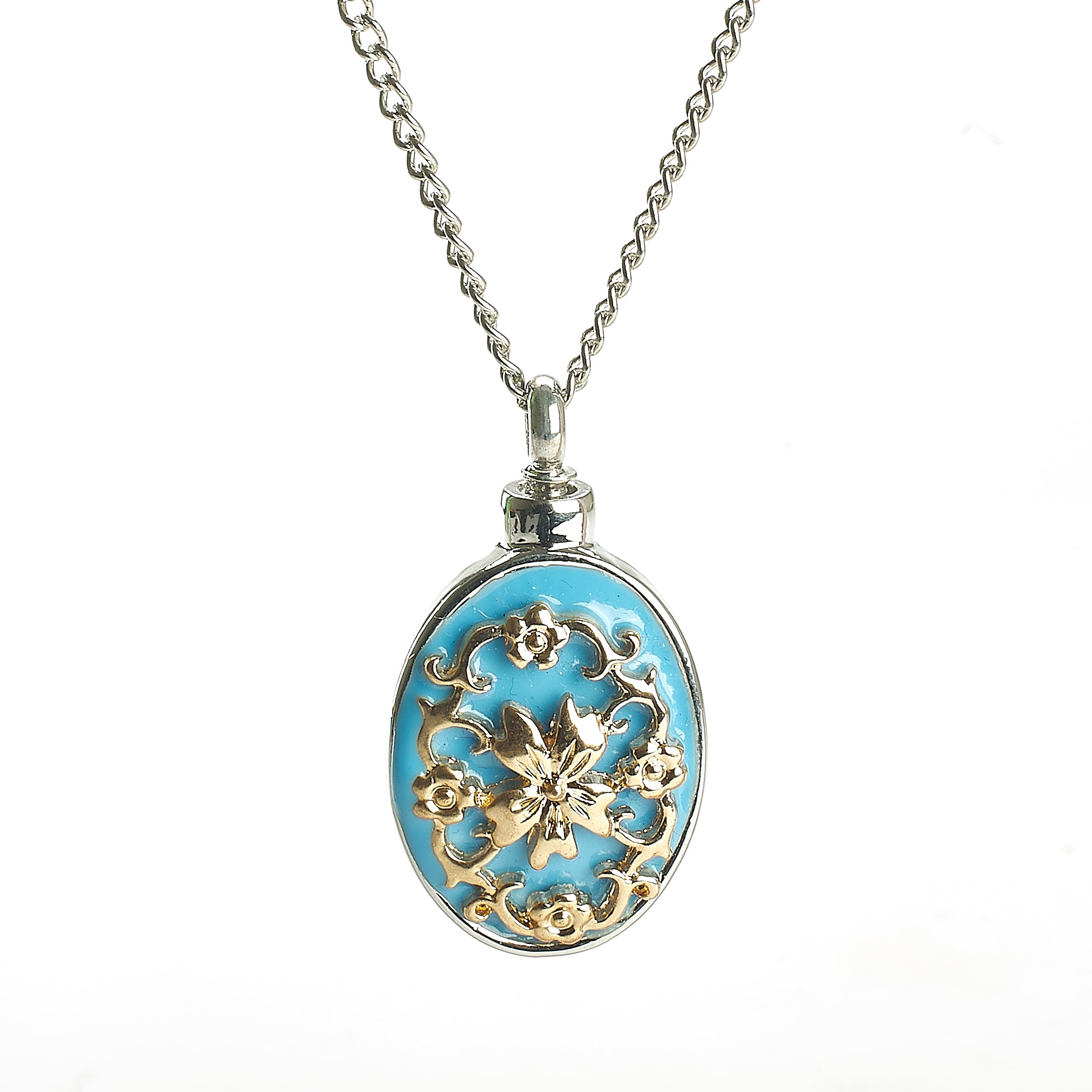 Cremation Pendant - Oval Decorative Piece Blue, Gold, Silver