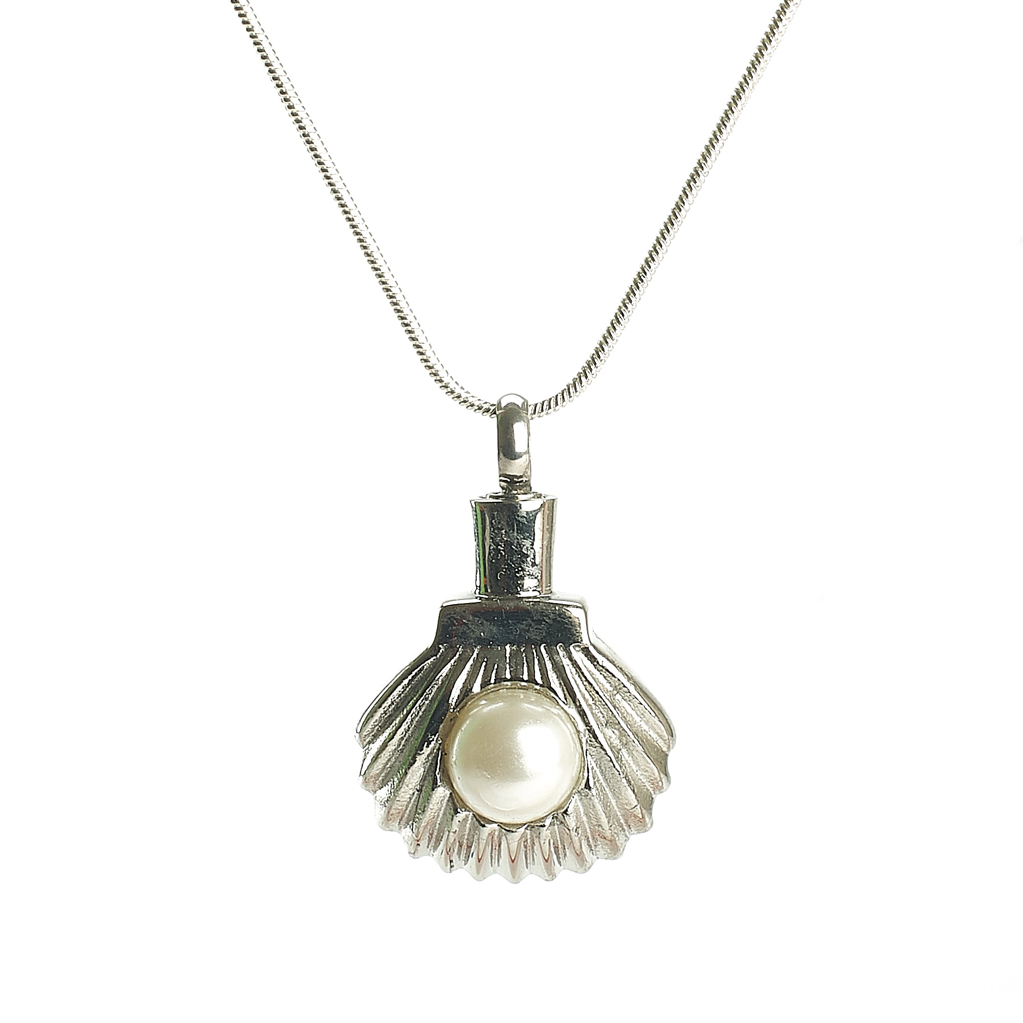 Cremation Pendant - Pearl in a Silver Oyster Shell