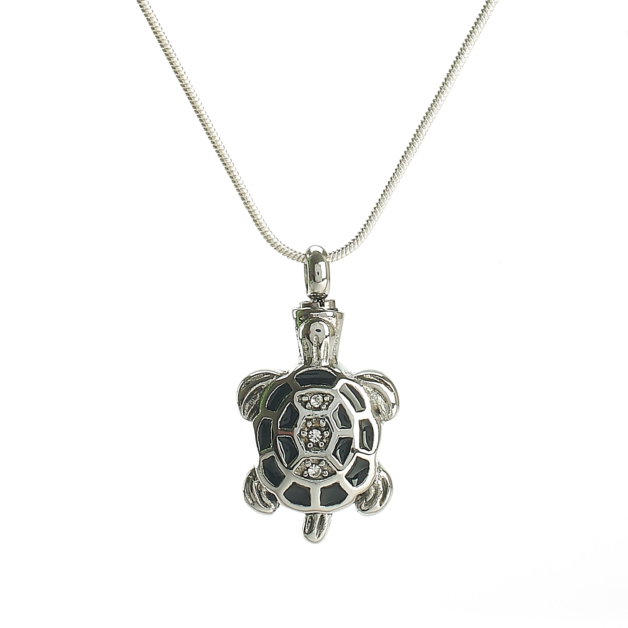 Cremation Pendant - A Silver Turtle