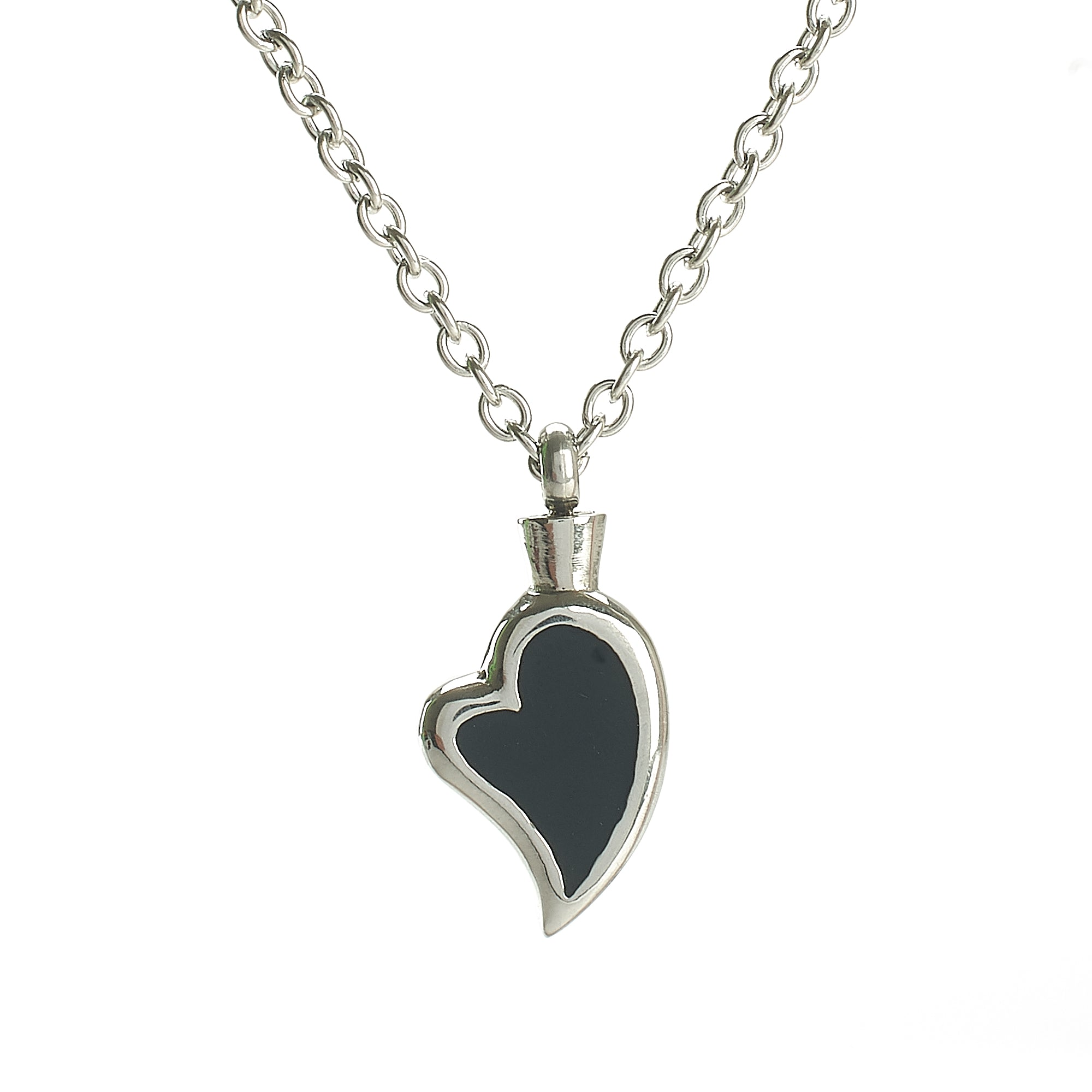 Cremation Pendant - Silver High Shine Abstract heart with Black