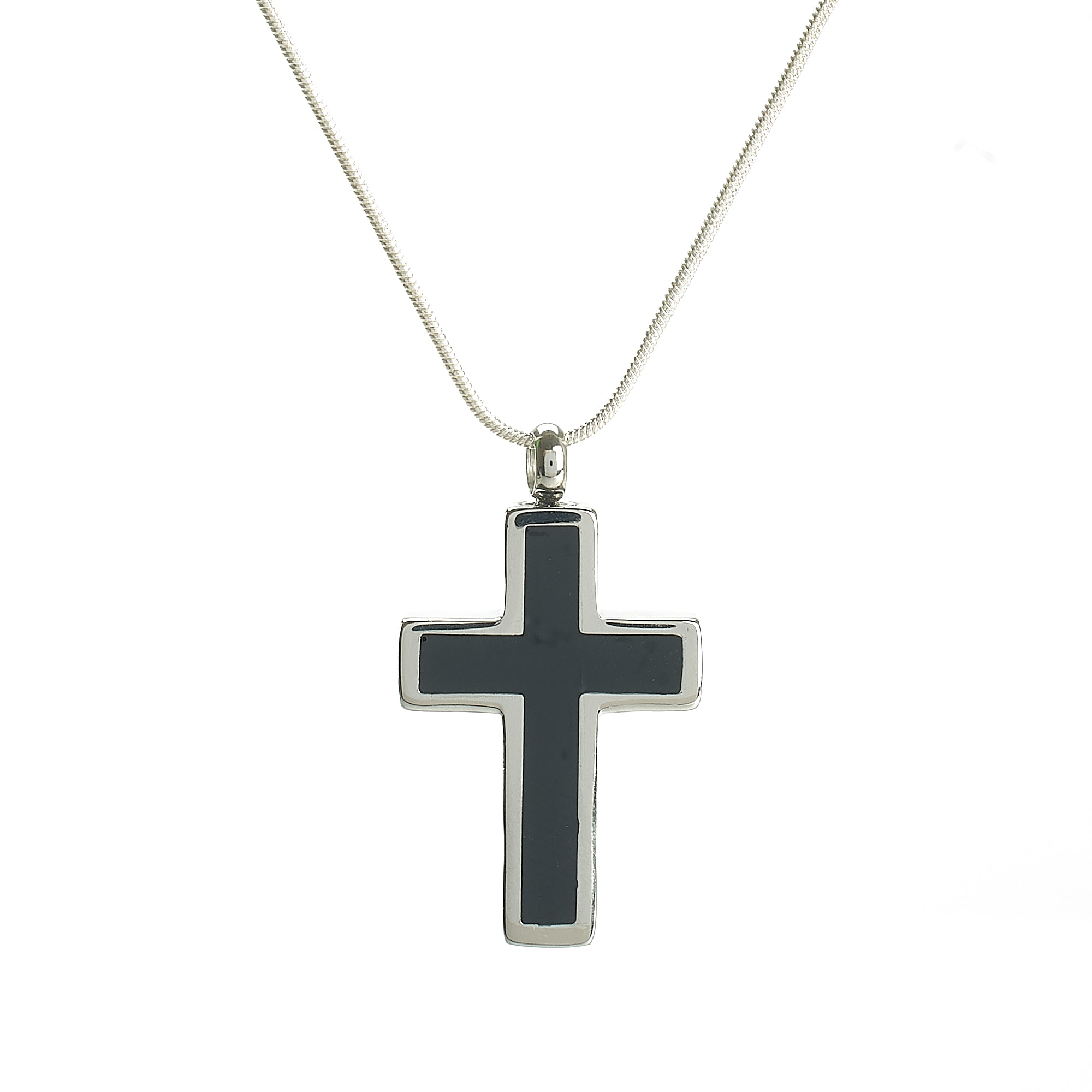 Cremation Pendant - Faith - Cross Silver/Black