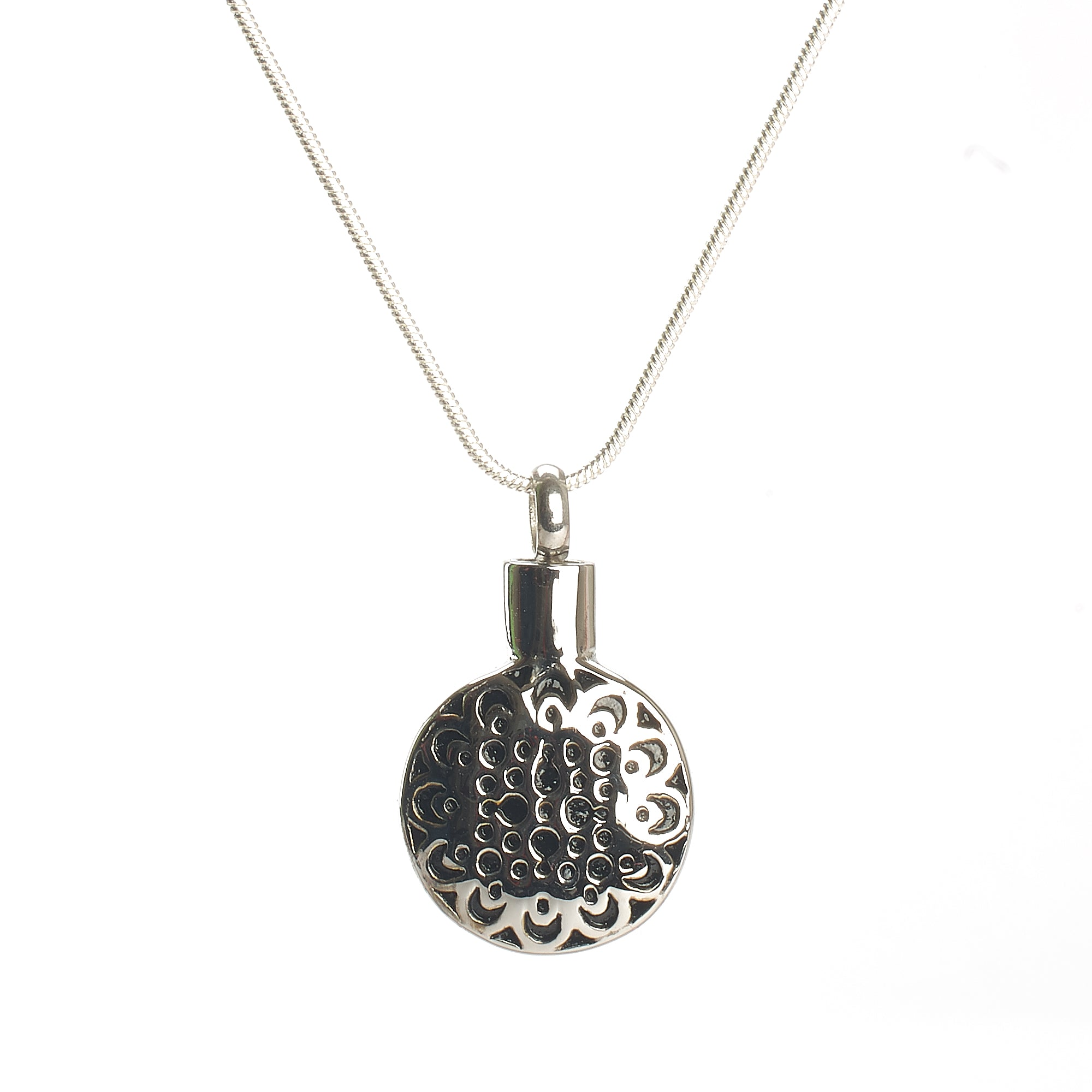 Cremation Pendant - Celtic Inspired Pattern on Round