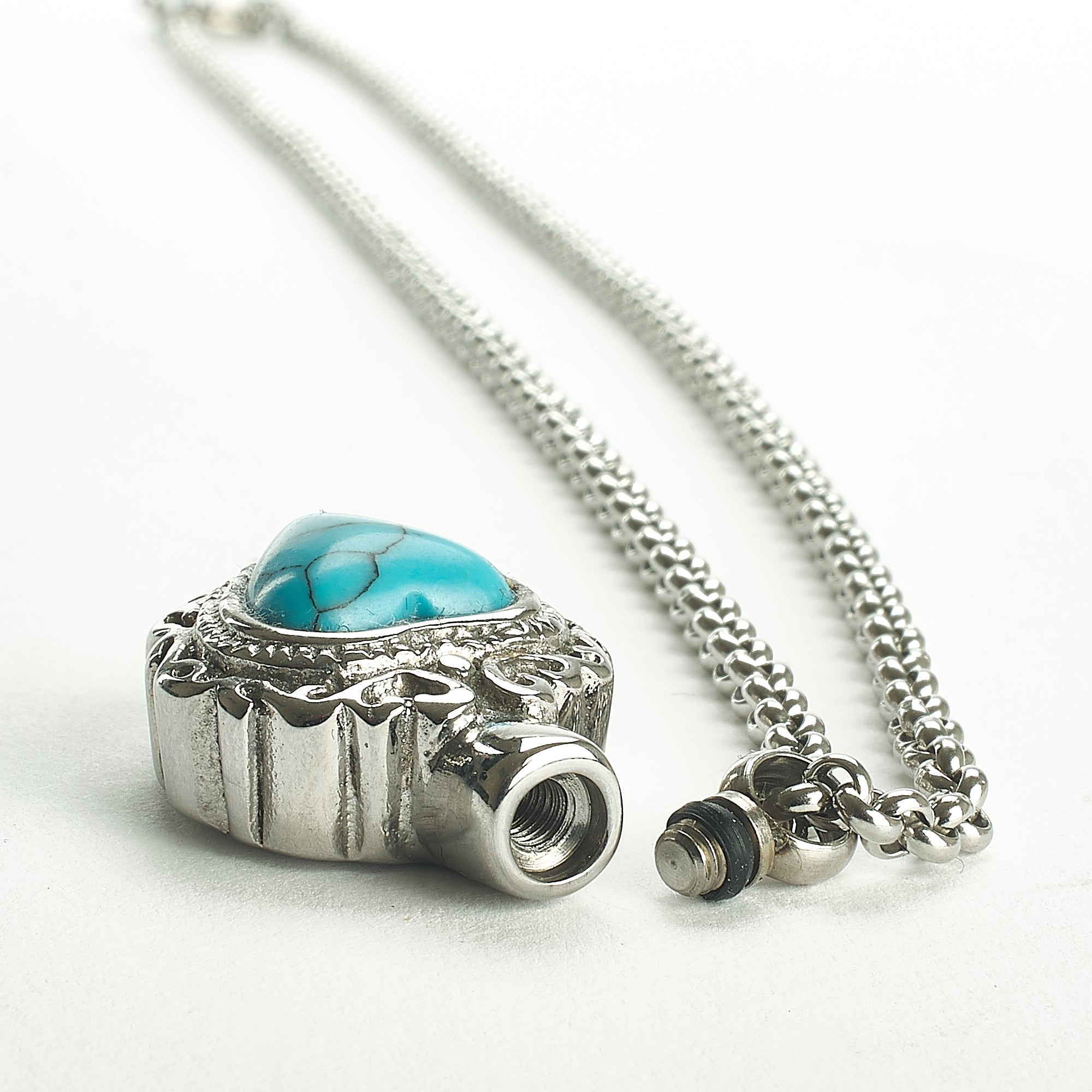 Cremation Pendant - Turquoise - Decorative Small Silver Heart